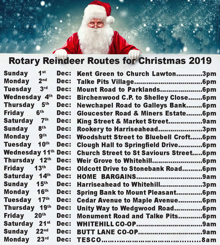 Kidsgrove Santa routes 2019